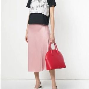 Red leather Top Handle Rounded Bag MANSUR GAVRIEL